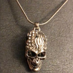 NEW - Silver Skull Head with CZ Accents Necklace💀